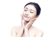 Studio portrait of young asian woman royalty free stock photo