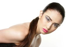 Studio portrait of young beautiful woman Royalty Free Stock Photos