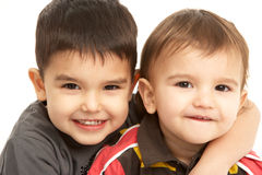 Studio Portrait Of Young Brothers Stock Photography