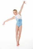 Studio Portrait Of Young Female Gymnast. Balancing stock images