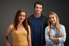 Studio Portrait Of Young Friends Together Stock Image