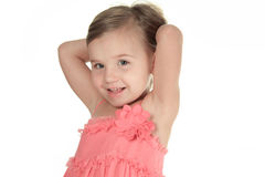 Studio Portrait Of Young Girl wearing in pink Stock Images