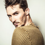 Studio portrait of young handsome man in knitted sweater. Close-up photo. Royalty Free Stock Photo