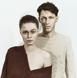 Studio portrait of a young man and woman Royalty Free Stock Photo