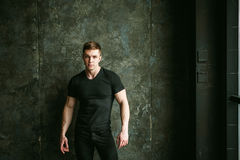 Studio portrait young sexy men bodybuilder athlete. Young sexy man bodybuilder athlete, studio portrait loft on background of stylized Concrete brutal wall, guy Stock Photos