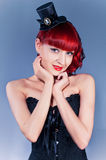 Studio portrait of young woman in corset royalty free stock images