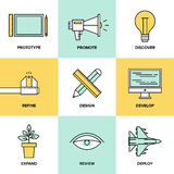 Studio product development flat icons. Flat line icons set of creative design process, web product development, studio technical service, prototype engineering Royalty Free Stock Image