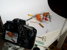 Studio product photography. Photo table for product advertising. Studio product photography stock photo