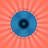 Studio record sain, boutique de musique de vinyle, logo de vecteur de club avec le disque vinyle Photo libre de droits