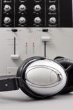Studio Recording. Headphones In Front Of Soundboard Royalty Free Stock Photos