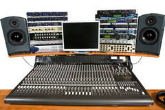 Studio recording equipment. Isolated studio recording equipment on table Royalty Free Stock Image