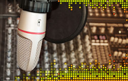 Studio recording microphone with sound equalizer Royalty Free Stock Image
