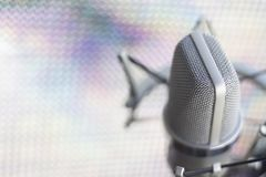Studio recording voice microphone. Large diaphragm condenser studio recording voice microphone to record professional voiceovers, singing and dubbing royalty free stock photo