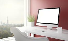 studio rouge avec l'ordinateur d'écran vide Photos stock