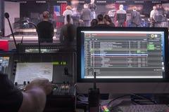 Studio sain ajustant l'équipement record image libre de droits