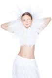 Studio schoss vom Wintermädchen über Weiß Lizenzfreies Stockfoto