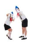 Studio schoss von den lustigen Pantomimen Lizenzfreie Stockbilder