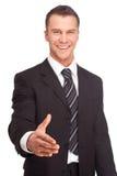 Studio schoss von einem Geschäftsmann auf weißem Hintergrund Lizenzfreies Stockbild