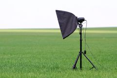 Studio set up with lights on nature. Studio set up with lights outdoors stock image