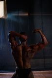 Studio shoot of african american male body builder posing on a black background. Back view Royalty Free Stock Photos
