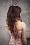 Studio shoot of beautiful bride's hairstyle. Brunette. Royalty Free Stock Image