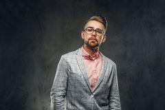 Studio Shoot Of Proud Young Man In Checkered Blazer, Glasses And Pink Shirt Royalty Free Stock Image