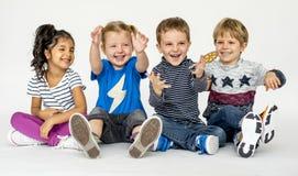 Studio Shoot People Portrait Concept. Studio Shoot Diverse Little Kids Portrait Concept royalty free stock image