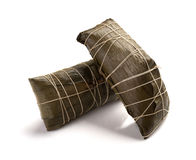 Studio shoot of two wrapped Chinese ZongZi on white for Dragon Boat Festival Royalty Free Stock Photography
