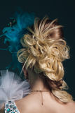 Studio shoot of woman with creative hairstyle, makeup and dress. Royalty Free Stock Photos