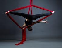 Studio shot of acrobat performs on hanging ribbons Royalty Free Stock Photos