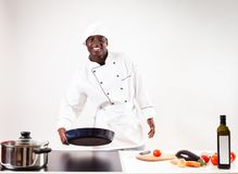 Chef Cooking In His Kitchen stock images