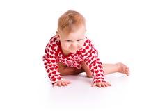 Studio shot of baby crawling Royalty Free Stock Photos