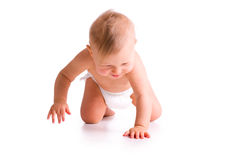 Studio shot of baby crawling. The studio shot of baby crawling on white background royalty free stock photography