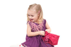 Studio shot of baby girl in gala dress Stock Photo