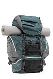 Studio shot of a backpack with exercising mat in it Stock Photo