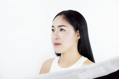 Studio Shot, Beautiful Asian Woman with Black Hair, with Healthy Skin, on white background. S Royalty Free Stock Photography