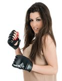 Studio shot of beautiful female boxer Stock Photos