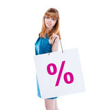 Studio shot of beautiful girl is in fashion style  with shopping Royalty Free Stock Photos