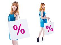 Studio shot of beautiful girl is in fashion style  with shopping Stock Photos