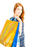 Studio shot of beautiful girl shopaholic Royalty Free Stock Photography