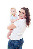 Studio shot of beautiful mother and her son Stock Photos