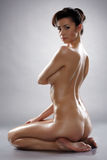 Studio shot of beautiful nude woman with wet body Stock Images