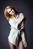 Studio shot of beautiful young girl wearing white shirt Royalty Free Stock Photos