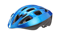 A studio shot of a blue helmet for byciclist Royalty Free Stock Image