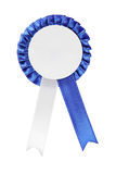 Studio shot of a blue ribbon award. A studio shot of a blue ribbon award isolated on white background Stock Photo