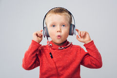 Studio shot of boy with headphones Stock Photography