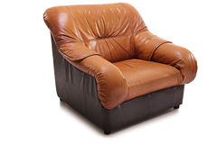 Studio shot of a brown leather armchair Stock Photography