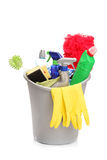 A studio shot of a bucket with cleaning supplies Royalty Free Stock Photo
