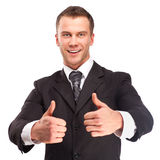 Studio shot of a business man on white background stock image