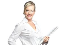 Studio shot businesswoman holding laptop Royalty Free Stock Image